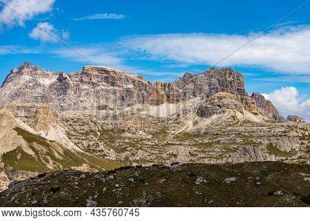 Mountain Peaks Of Sexteen Dolomites From Tre Cime Di Lavaredo. Punta Tre Scarperi, Lastron Degli Sca