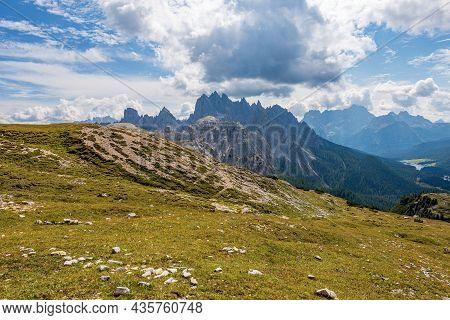 Mountain Range Of Cadini Di Misurina And Sorapiss, Seen From Tre Cime Di Lavaredo Or Drei Zinnen, Se