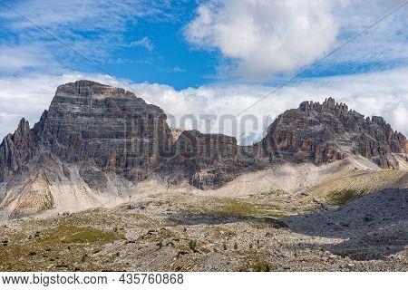 Mountain Peak Of Monte Paterno Or Paternkofel (2744 M.), Natural Park Of Tre Cime Di Lavaredo Or Dre