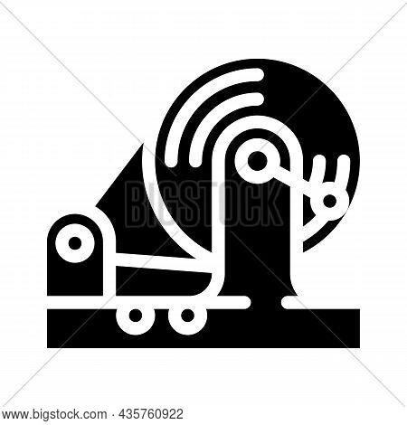 Testing Equipment Electromagnetic Glyph Icon Vector. Testing Equipment Electromagnetic Sign. Isolate
