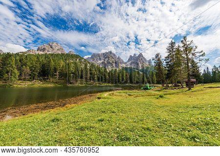 Lago D'antorno (lake Antorno) And The Mountain Range Of Cadini Di Misurina, Sesto Dolomites, Unesco