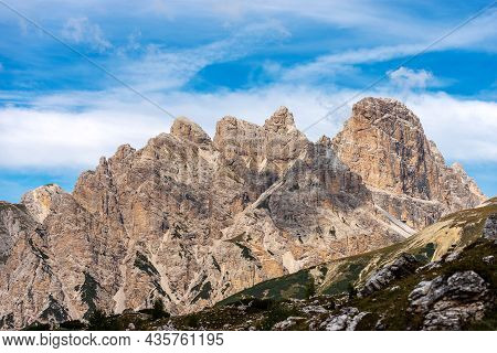 Mountain Peak Of Croda Dei Rondoi Or Schwalbenkofel Of The Mountain Range Of The Rondoi-baranci And