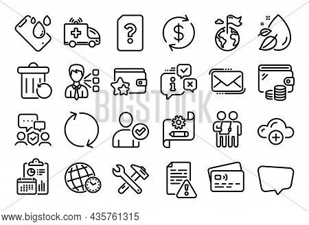 Vector Set Of Survey, Chat Message And Usd Exchange Line Icons Set. Calendar Report, Money Wallet An