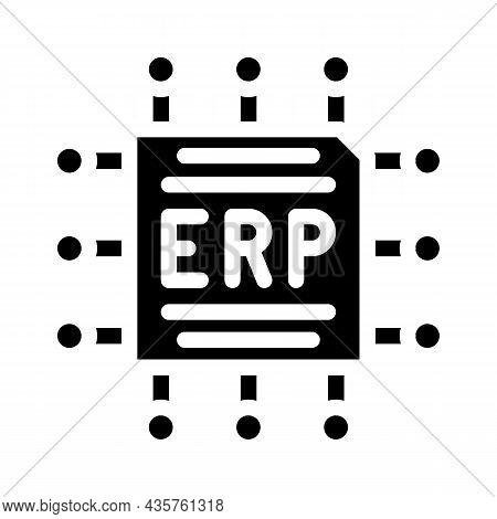 Cpu Enterprise Resource Planning Glyph Icon Vector. Cpu Enterprise Resource Planning Sign. Isolated