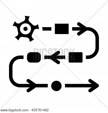 Production Stages At Enterprise Glyph Icon Vector. Production Stages At Enterprise Sign. Isolated Co