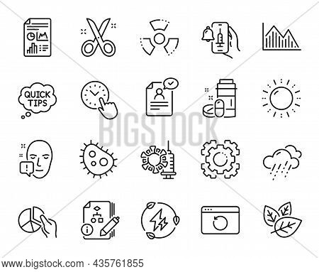 Vector Set Of Green Electricity, Rainy Weather And Pie Chart Line Icons Set. Scissors, Vaccine Annou
