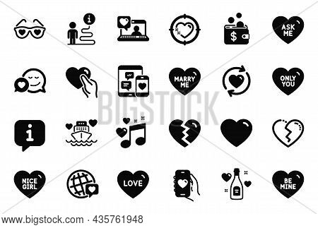 Vector Set Of Love Icons Related To Broken Heart, Hold Heart And Only You Icons. Love, Update Relati