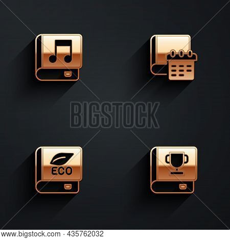 Set Audio Book, Daily Paper Notepad, Book About Ecology And Icon With Long Shadow. Vector