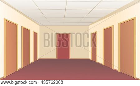 Hallway Doors. Empty Premises In The Building. Many Offices Or Rooms. Light Interior. Illustration C