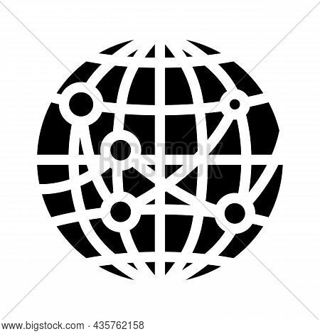 International Logistics Business Glyph Icon Vector. International Logistics Business Sign. Isolated