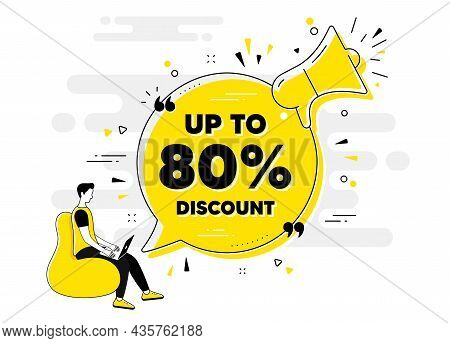 Up To 80 Percent Discount. Alert Megaphone Chat Banner With User. Sale Offer Price Sign. Special Off