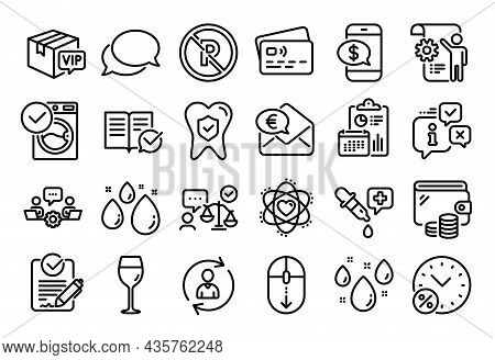 Vector Set Of Euro Money, Scroll Down And Rainy Weather Line Icons Set. Calendar Report, Money Walle
