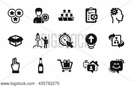 Vector Set Of Smile Chat, Teamwork And Work Home Icons Simple Set. Open Box, Beer And Timer Icons. E