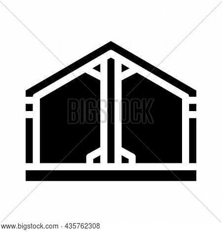 Building Metallic Framework Glyph Icon Vector. Building Metallic Framework Sign. Isolated Contour Sy