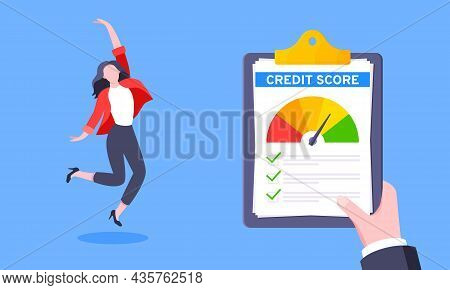 Good Credit Score Business Concept With Clipboard, Score Gauge Meter And Happy Person Jumping In The
