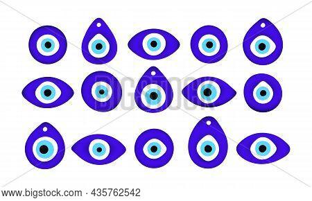 Blue Oriental Evil Eye Symbol Amulet Flat Style Design Vector Illustration Set Isolated On White Bac
