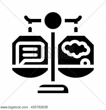 Weighing Opinions Glyph Icon Vector. Weighing Opinions Sign. Isolated Contour Symbol Black Illustrat
