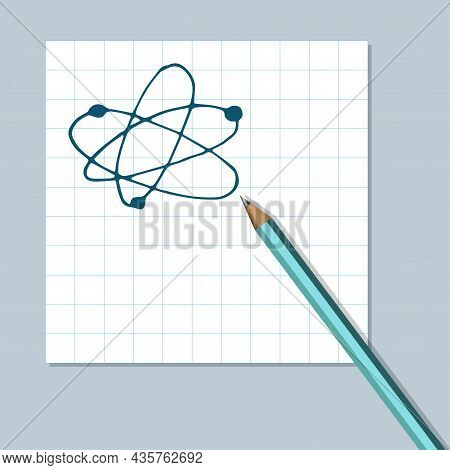 Atomic Structure Handdrawn Icon Cartoon Vector Clip Art Of An Atom Or Molecule With Protons Neutrons