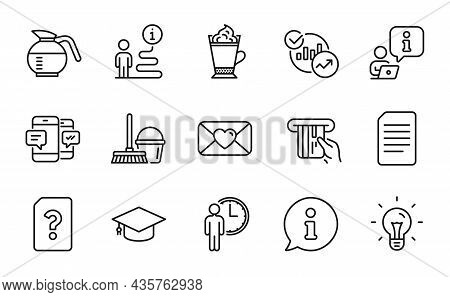 Line Icons Set. Included Icon As Statistics, Credit Card, Waiting Signs. Bucket With Mop, Unknown Fi