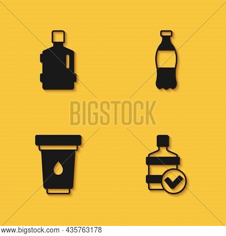 Set Big Bottle With Clean Water, Water Filter Cartridge And Bottle Of Icon With Long Shadow. Vector