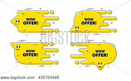 Wow Offer Text. Cartoon Face Transition Chat Bubble. Special Sale Price Sign. Advertising Discounts