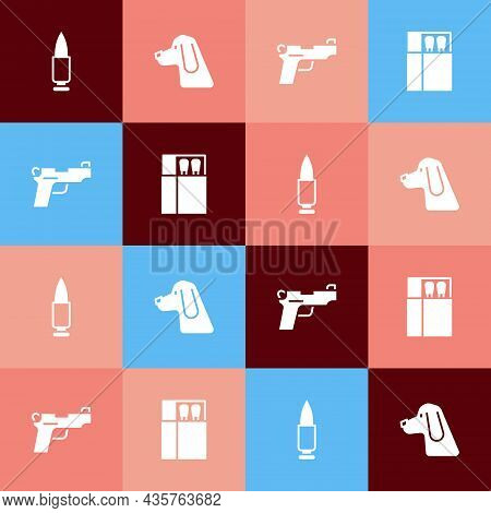 Set Pop Art Bullet, Hunting Dog, Pistol Or Gun And Open Matchbox And Matches Icon. Vector