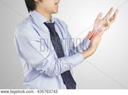 Office Worker Feels Muscle Pain , X-ray Wrist Muscle