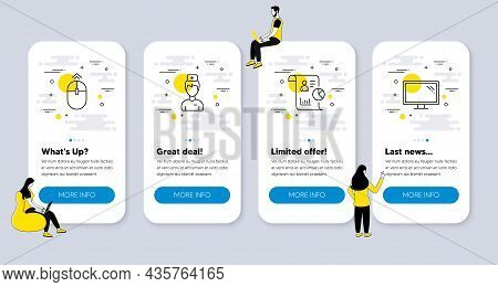 Vector Set Of Science Icons Related To Swipe Up, Report And Doctor Icons. Ui Phone App Screens With