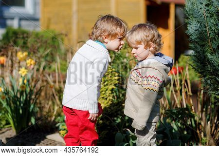 Two Little Brothers Boys Fighting And Having Dispute. Preschool, Upset Children Arguing Outdoors. Ri