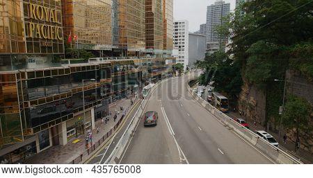 Tsim Sha Tsui, hong Kong 17 April 2021: Canton road in Tsim Sha Tsui