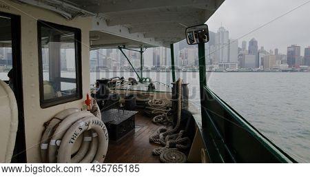 Hong Kong, 14 April 2021: Take ferry from tsim sha tsui to central