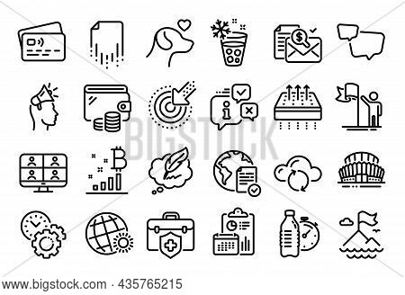 Vector Set Of Leadership, Breathable Mattress And World Weather Line Icons Set. Calendar Report, Mon