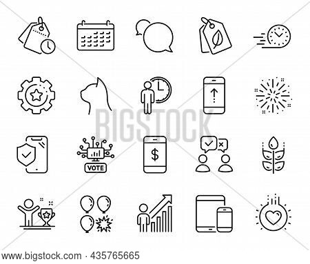 Vector Set Of Settings Gear, People Voting And Phone Insurance Line Icons Set. Balloon Dart, Calenda