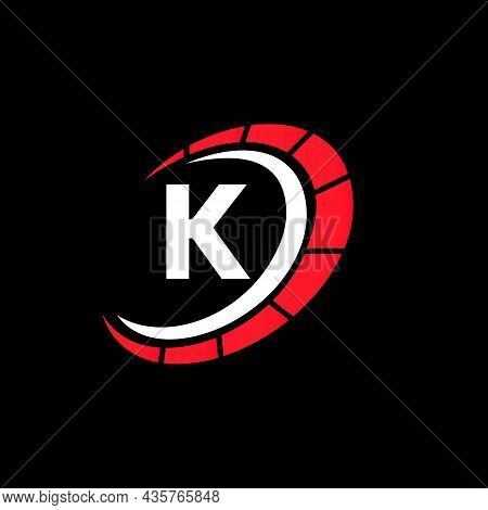 Sport Car Logo On Letter K Speed Concept. Car Automotive Template For Cars Service, Cars Repair With