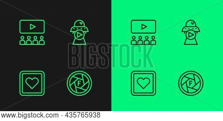 Set Line Camera Shutter, Like Heart, Cinema Auditorium With Screen And Science Fiction Icon. Vector