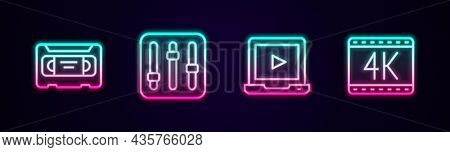 Set Line Vhs Video Cassette Tape, Sound Mixer Controller, Online Play And 4k Movie. Glowing Neon Ico