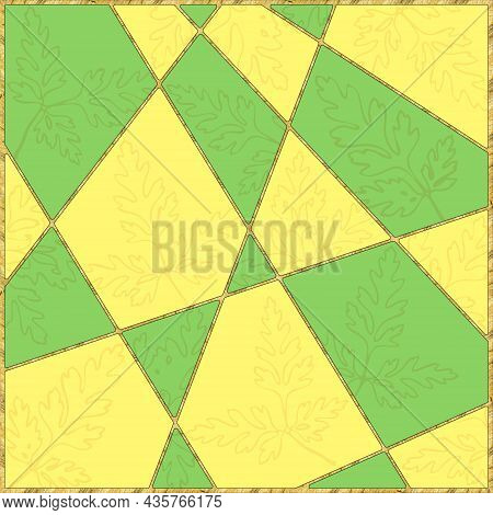 Modern Mosaic, Inlay. Illustration In Stained Glass Style. Art Deco Background. Geometric Pattern. C