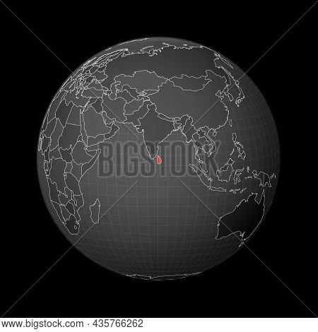Dark Globe Centered To Sri Lanka. Country Highlighted With Red Color On World Map. Satellite World P