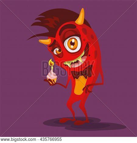 Red Devil Monster Vector Color Illustration Illustration, Cartoon, Red, Devil, Animal, Art,