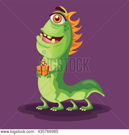 Green Monster Vector In Empty Space Crazy Monster Character Creatures With Party Elements Like Color