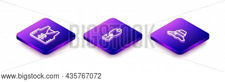 Set Isometric Line Fishing Jacket, Lure And Fisherman Hat Icon. Vector