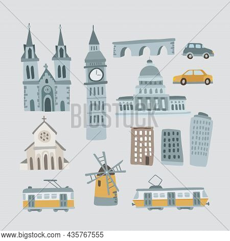 Set Of Hand Drawn Houses, Monuments. Transportation Vehicles. Urban Icons Isolated On Blue Backgroun