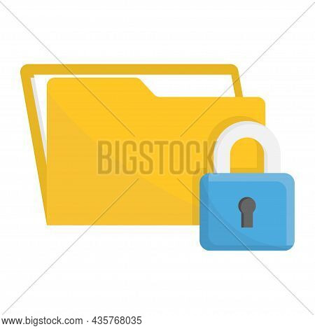 Folder Lock, Privacy Policy Concept. File Protection. Security Protection Locked Or Secret Data. Vec