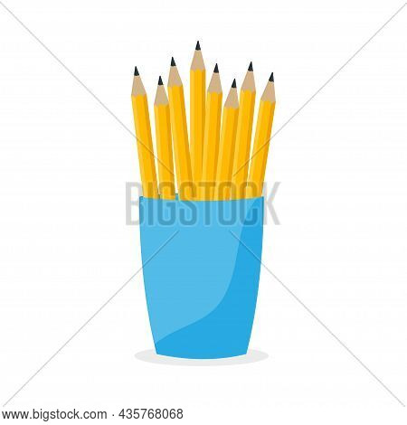 Bunch Of Yellow Pencils In Office Cup. Drawing Equipment In Office Holder Basket, Clerical Vase. Vec