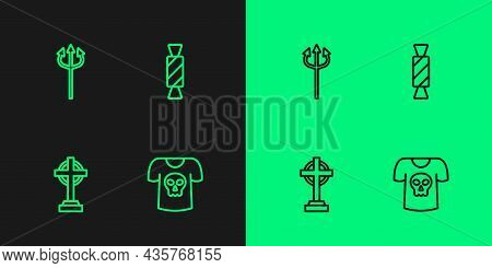 Set Line Shirt With Skull, Tombstone Cross, Trident Devil And Candy Icon. Vector