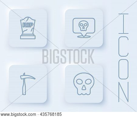 Set Line Tombstone With Rip Written, Skull, Scythe And . White Square Button. Vector