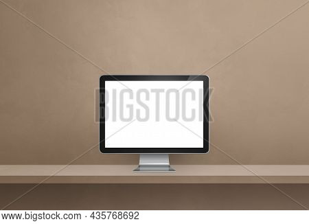 Computer Pc - Brown Wall Shelf Banner. 3d Illustration