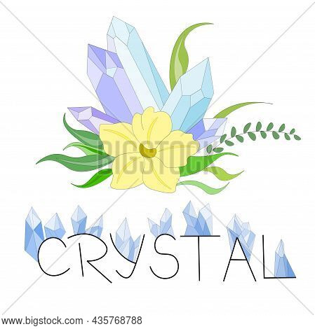 Set Of Elements Made Of Blue Magic Crystals With Yellow Flower And Foliage, As Well As Black Inscrip
