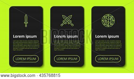 Set Line Medieval Sword, Crossed Medieval And Round Wooden Shield. Business Infographic Template. Ve