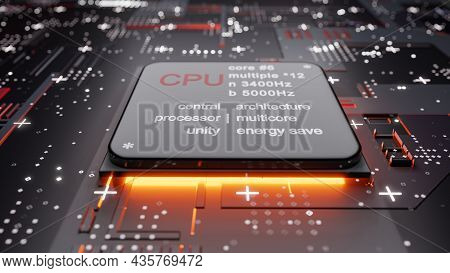 Abstract Central Computer Processors With Glow From Below. 3d Illustration. Conceptual Cpu On Circui